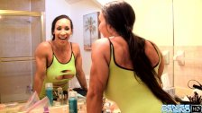 Denise Masino - Getting a few Bathroom Kicks - Female Bodybuilder