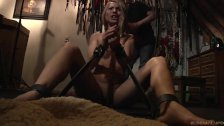 Chained submissive slave takes bondage deepthoat cumshot