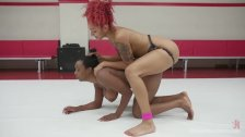 Ebony babes battle in 100% real competitive erotic wrestling match