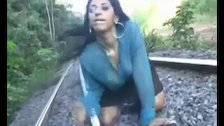 Rough blowjob on the train tracks