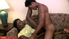 Dark skinned t-girl in tight jeans gets down and sucks cock
