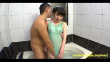 Pretty Jav Teen Schoolgirl Lubed Up Teases Then BJ's Lucky Guy In Bathroom