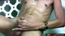 Wasted ladyboy with green nails is ass fingering and wanking