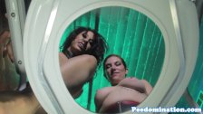 Femdoms demean toiletsub with golden shower