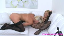 FemaleAgent Busty babe licks agent for money
