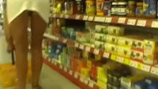 Upskirt in supermarket No panties or bra