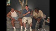 Lusty white guy gets gangbanged by blacks