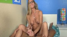Naughty mature lady handjob