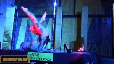 Hot pole dance in erotic festival