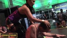 Hot asian mistres and slave in public