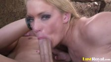 Shaved blonde really enjoys riding big peckers