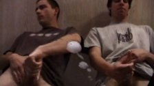 Skater punks wanking off and jizz on table