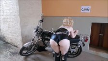 She likes playing to be dark with her motorbike