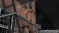 3D babe sucks and fucks on a fire escape