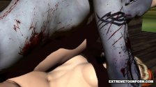 3D Hottie Licked and Fucked Hard by a Zombie
