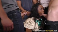 Sarah Banks gives blowjob to 12 guys