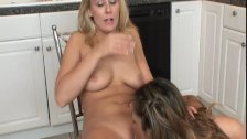 Blonde and Latina toy each other in Kitchen