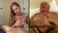 Blonde handling cock, man wanking