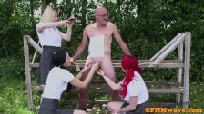Cheeky CFNM schoolgirls cocksucking outdoors