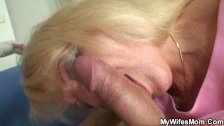 Blonde motherinlaw sucks and rides his big me