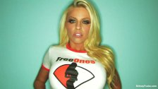 Gorgeous Britney teases in her FreeOnes shirt