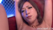Dirty asian babe gets a face full of cum