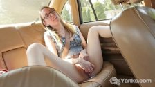 Slim Sierra Masturbating In The Car