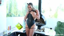 Sexy kitty Samantha Saint takes a milk bath