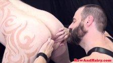 Tattooed superchub barebacked in threeway