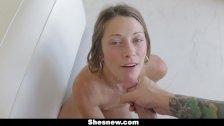 ShesNew - Newbie sucking Porn Producers Cock
