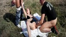 Brutally fisting shameless teen slut in publi
