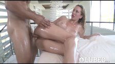 LUBED - Oiled up busty Brett Rossi fucked