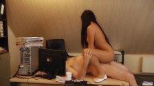 Teen secretary working naked fucks old boss