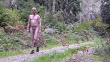 741 RT Nudist walks naked men forest woods