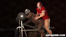 3D Toon Football Jock Fucks Black Boy