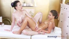 Massage Rooms Oily tribbing orgasms for hot lesbians