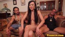 Gorgeous ladyboy spitroasted by black dudes