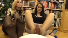 Pantyhose foot job