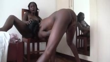 Ebony teen lesbian gives her friend a