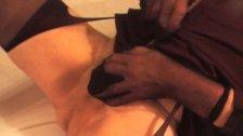 crossdresser transvestite in pantyhose lingerie of dildo urethral sounding