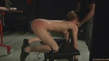 Whipping pussy day in bondage for teen blonde fucked to swallow