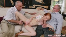 Old grandpa and old dominate young lesbians