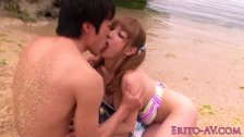 Japanese beach babe doggystyled until cum
