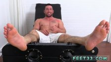 The gay sexy  guy with bare feet
