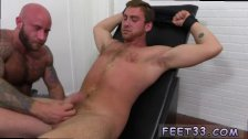 Tied boy feet to chair and licking old gay