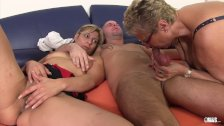 XXX Omas - Mature horny slut sucks cock in German threesome