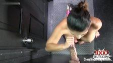 Brunette girl pov with cum in mouth