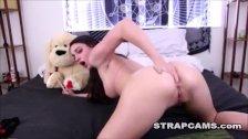 Teen puts dildo in her ass