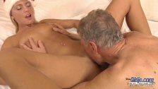 Merry Fucking Christmas super-hot blonde cock drilled by old man