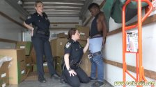 Ebony police strapon first time Black
